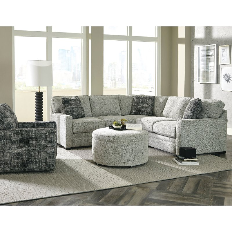 Contemporary Gray 2 Piece Sectional Sofa With Laf Loveseat Juno