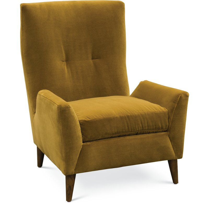 Beau Mid Century Modern Marzipan Yellow Wing Chair   Kelsey