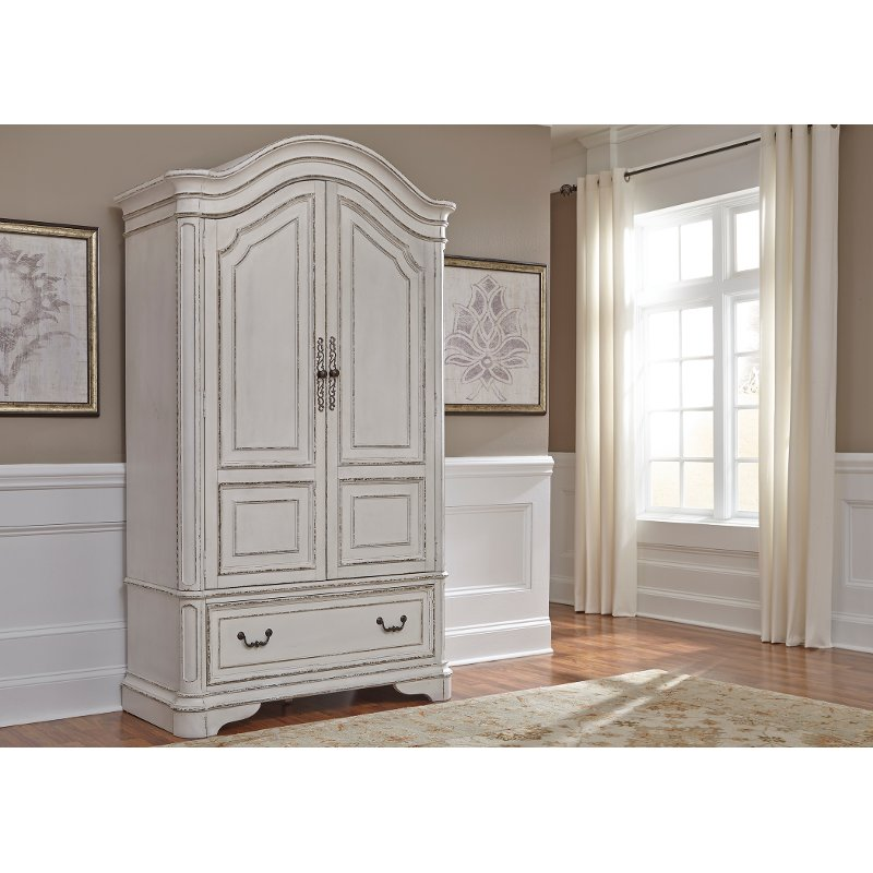 Antique White Traditional Armoire - Magnolia Manor - Antique White Traditional Armoire - Magnolia Manor RC Willey