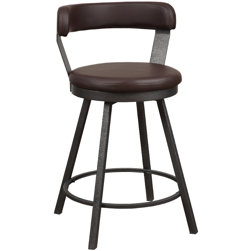 Gunmetal And Brown Modern Swivel Counter Height Stool   Appert