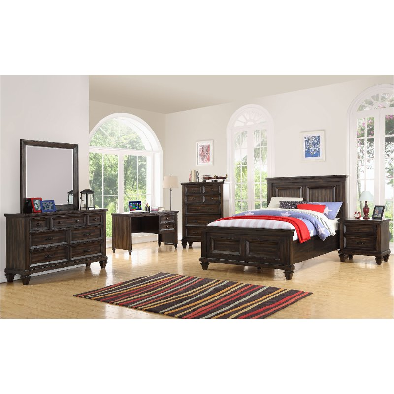 Classic Traditional Brown 4 Piece Twin Youth Bedroom Set   Sevilla