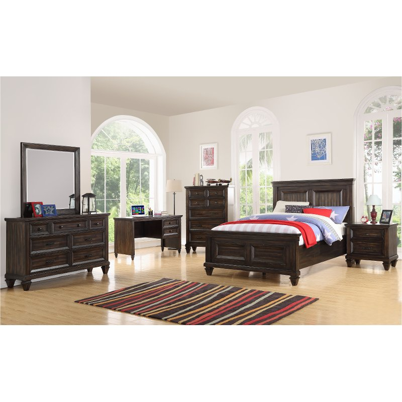 Traditional Brown 4 Piece Full Youth Bedroom Set - Sevilla