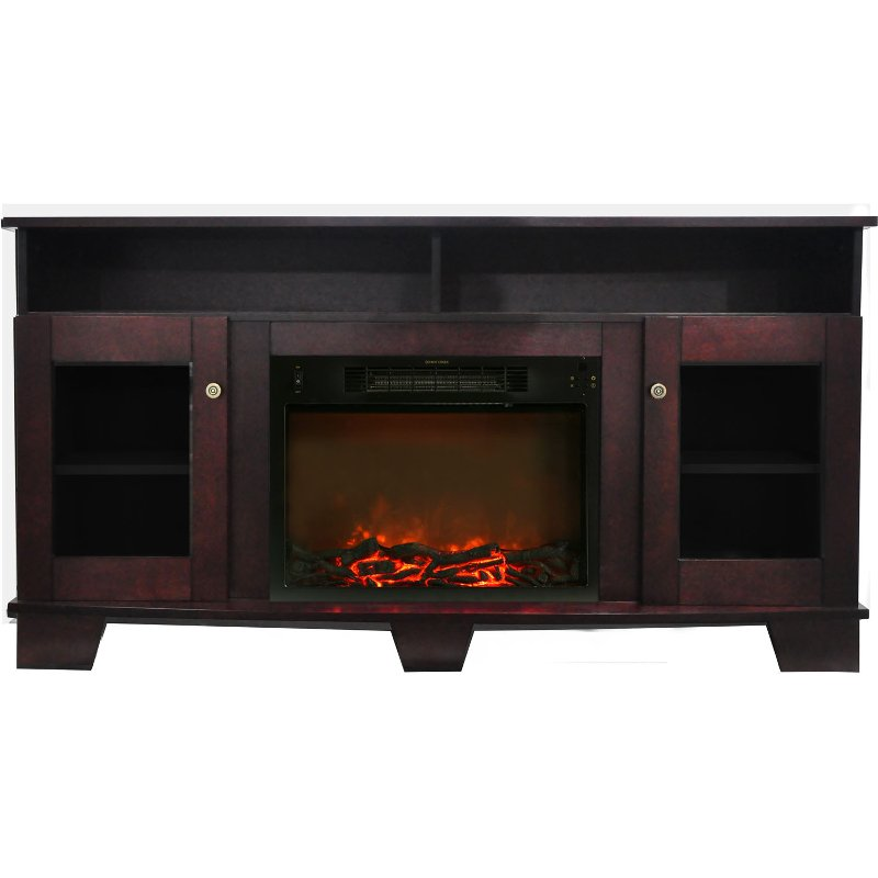 Mahogany Brown Wooden 60 Inch Fireplace Tv Stand Savona Rc