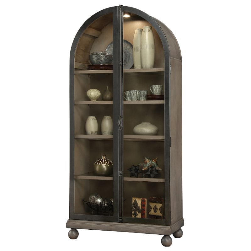 2 Tone Aged Gray And Charcoal Arch Top Curio Cabinet Naomi