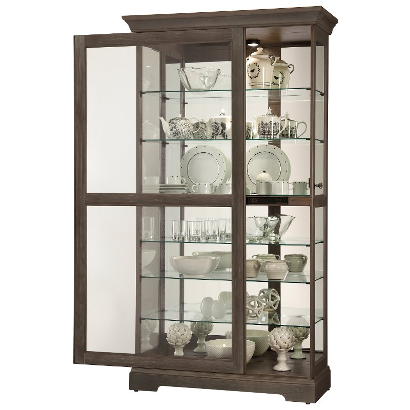 Aged Auburn Sliding Door Curio Cabinet Tyler Rc Willey Furniture