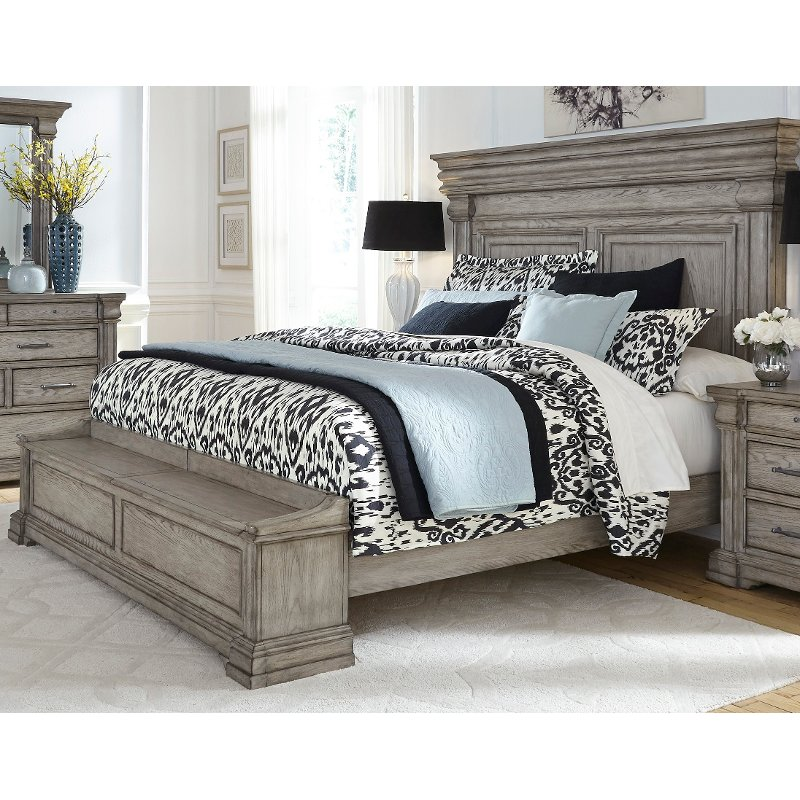 Bedroom Furniture King Size Bed: Classic Traditional Gray Queen Storage Bed