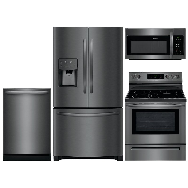 Frigidaire 4 Piece Kitchen Appliance Package With Electric Range With 5 Burners Black Stainless Steel Rc Willey Furniture Store