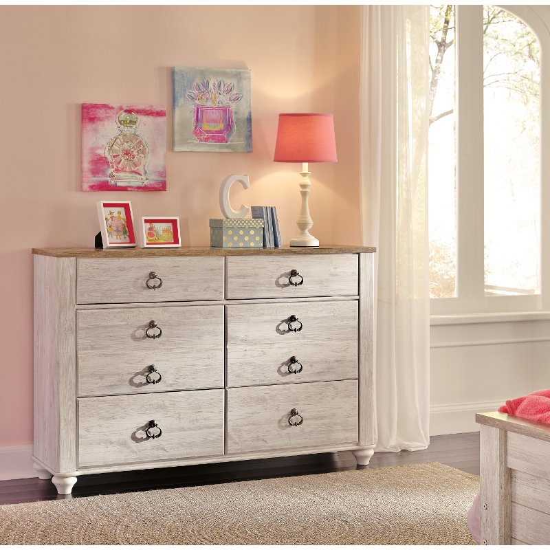 classic rustic whitewashed youth dresser millhaven rc willey furniture store