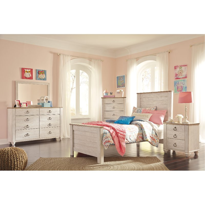 Classic Rustic Whitewashed 6 Piece Twin Bedroom Set - Millhaven | RC ...