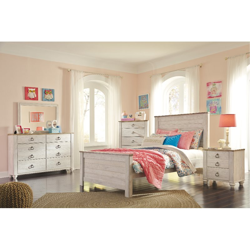 33cede7e90c7a7 Classic Rustic Whitewash 4 Piece Full Bedroom Set - Millhaven | RC Willey  Furniture Store