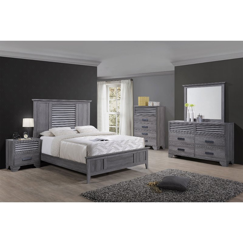 Casual Contemporary Gray 4 Piece King Bedroom Set   Sarter
