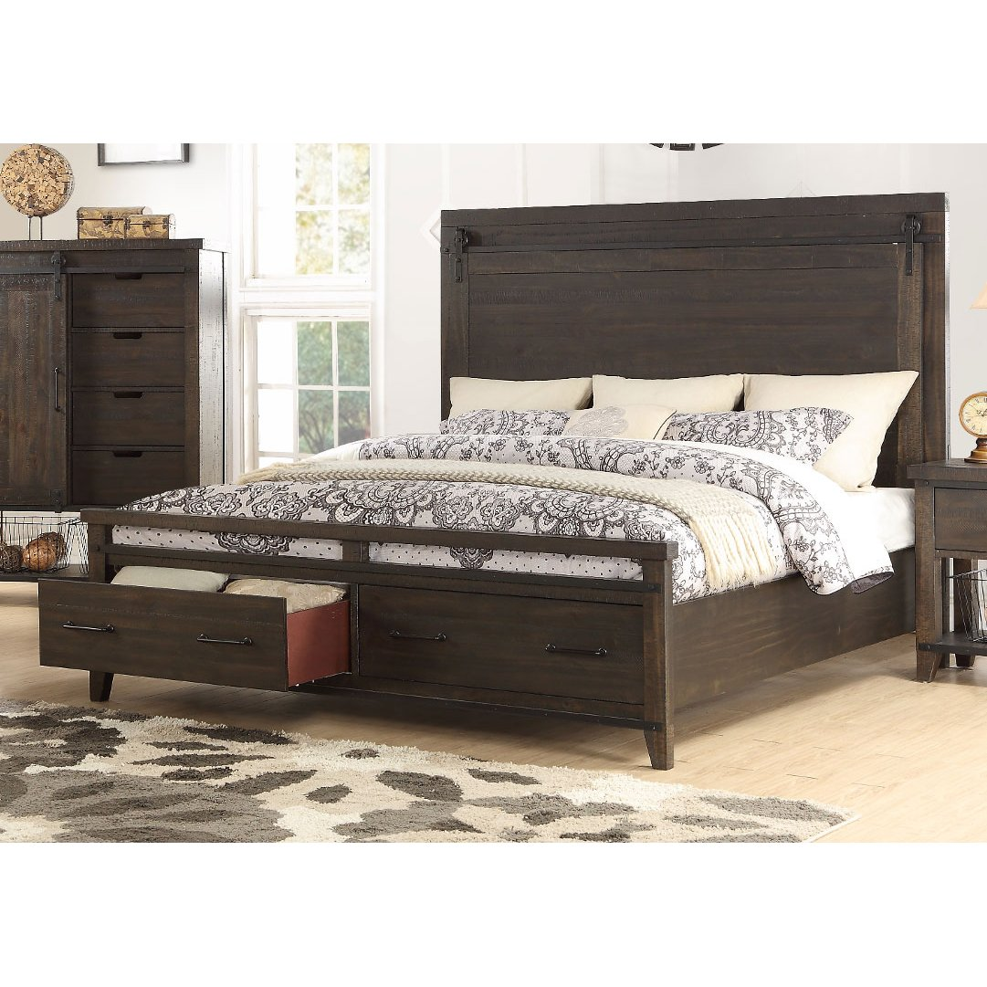 Rustic contemporary brown king storage bed montana rc willey furniture store