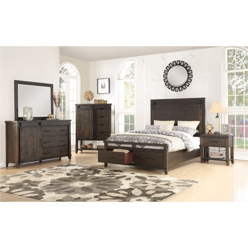 rustic contemporary brown 4 piece queen bedroom set montana rc willey furniture store - Rustic Bedroom Sets