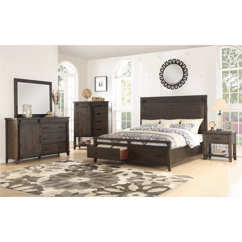 Superieur 6PC:2622/MONTANA6/6 Rustic Contemporary Brown 4 Piece King Bedroom Set