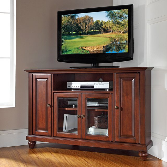 mahogany 48 inch corner tv stand cambridge rc willey furniture store - Corner Flat Panel Tv Stands