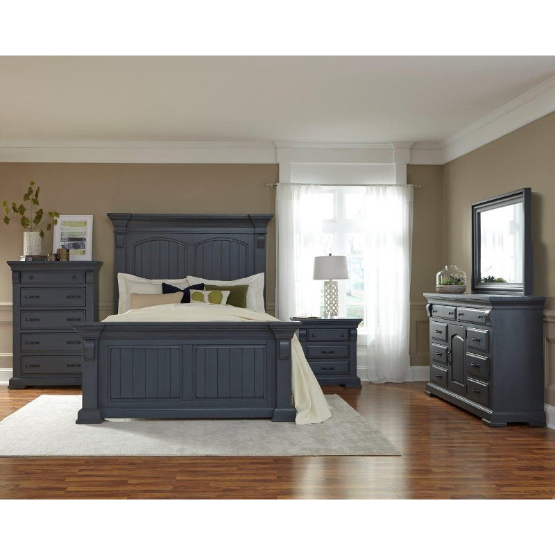 Quirky Bedroom Furniture Bedroom Blue And Red Bedroom Design Jobs Kids Bedroom Chandeliers: Classic Slate Blue 6 Piece Queen Bedroom Set - Everly