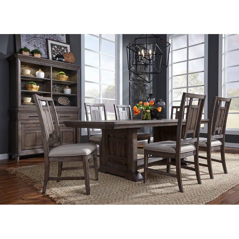 Aged Oak And Gray Lattice Back 5 Piece Dining Set Prairie Rc Willey Furniture