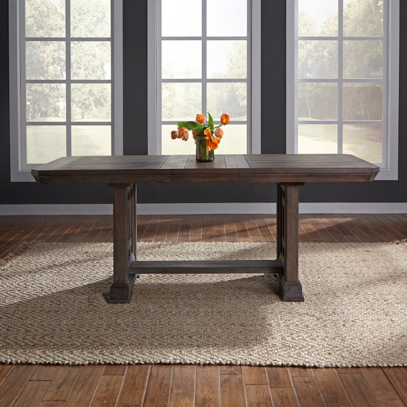 Classic Industrial Aged Oak Trestle Dining Table Artisan Prairie - Aged wood dining table