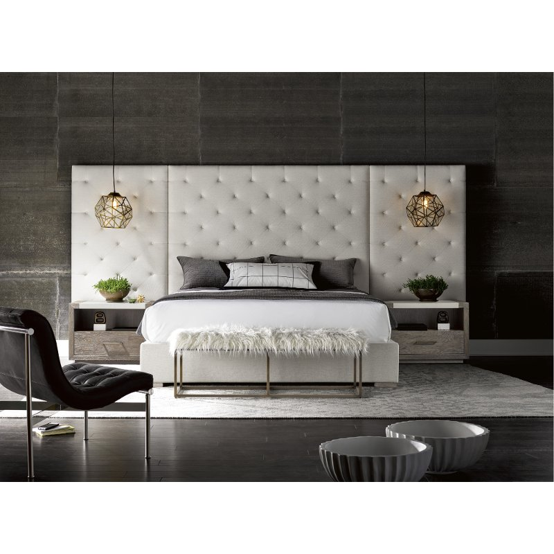 Off White Upholstered King Wall Bed With 2 Nightstands   Modern