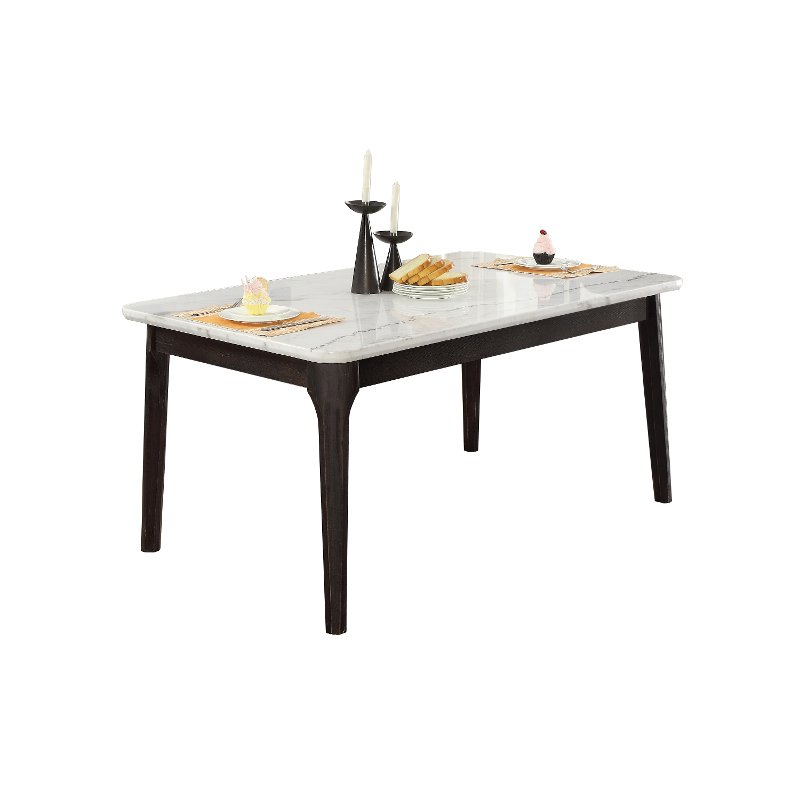 White Marble And Charcoal Dining Room Table Janel Rc