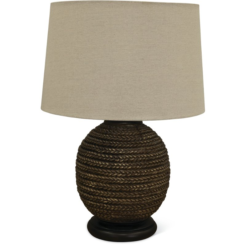 Brown Faux Rope Indoor Outdoor Table Lamp With Black Base