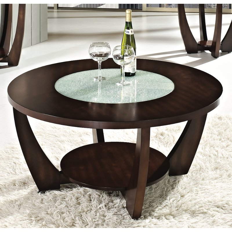 Modern Coffee Table Brown: Modern Brown Round Coffee Table - Rafael