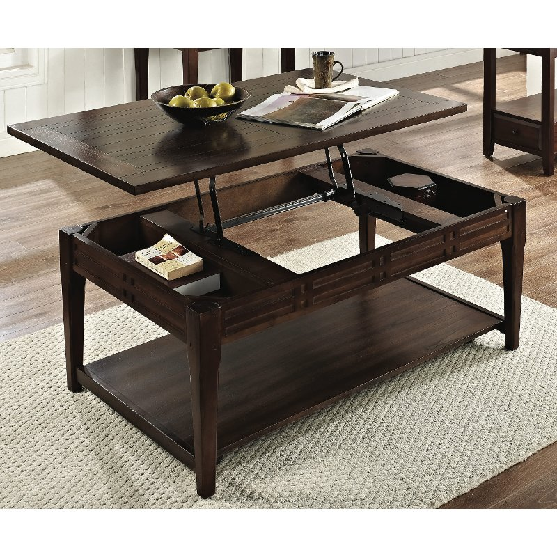Traditional Dark Brown Lift Top Coffee Table - Crestline RC Willey  Furniture Store