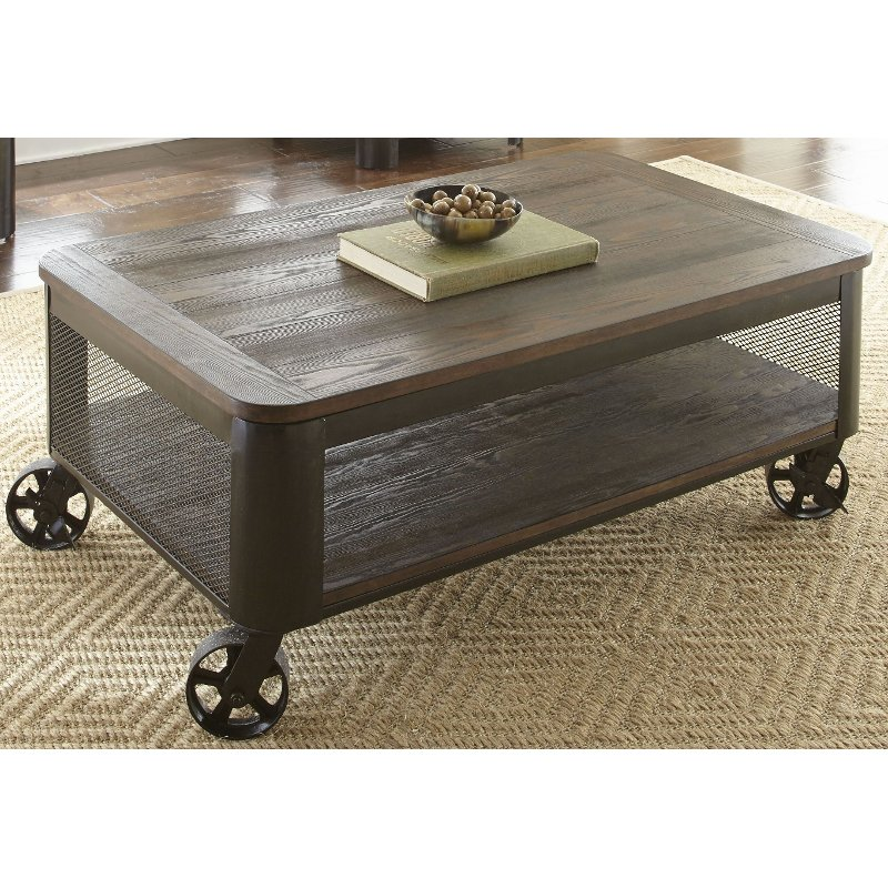 Modern Brown Lift Top Coffee Table With Wheels Barrow