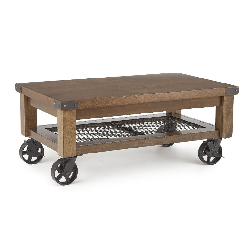 Rustic Brown Coffee Table With Wheels Hailee