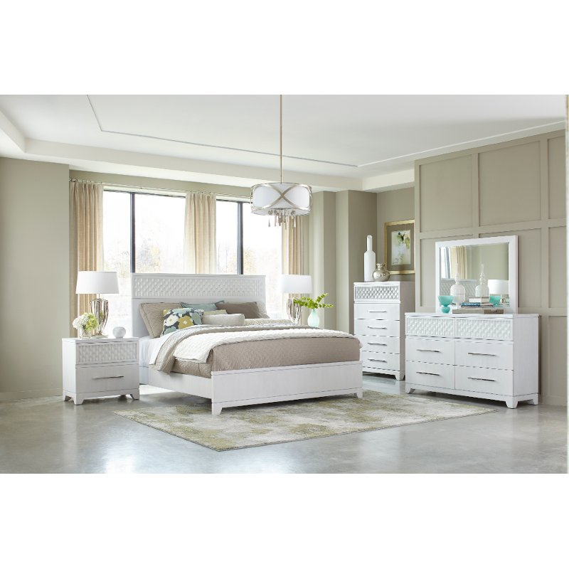 Contemporary Bedroom Furniture Stores: Contemporary White 4 Piece Queen Bedroom Set - Utopia