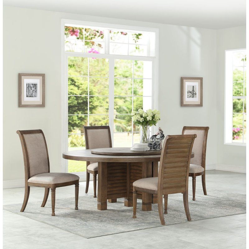 Austin Furniture Outlet: White Oak 5 Piece Round Dining Set - Austin