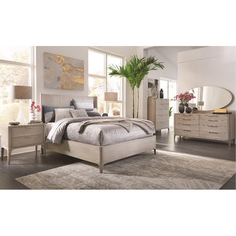 Modern frosted ash 6 piece king bedroom set alexandra - Porter contemporary 6 piece bedroom set ...