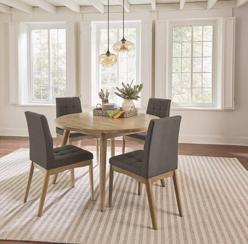 Mid Century Modern Oak U0026 Gray 5 Piece Round Dining Set   Barcelona | RC  Willey Furniture Store
