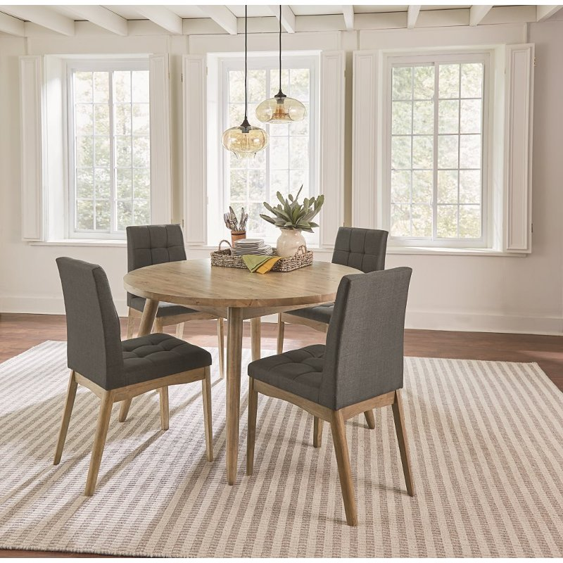 Oak And Gray 5 Piece Round Dining Set Barcelona Rc