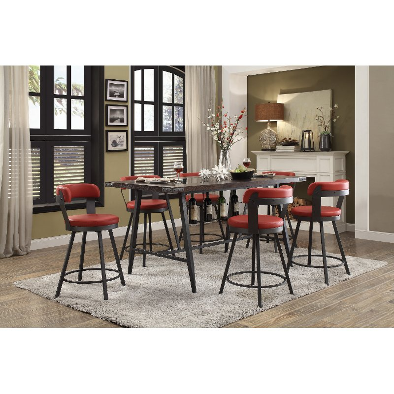 Retro Red 5 Piece Counter Height Dining Set   Appert | RC Willey Furniture  Store