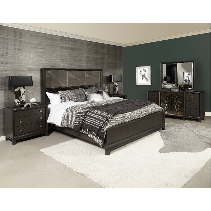 Contemporary Black Nickel 4 Piece Queen Bedroom Set - Radiance Space