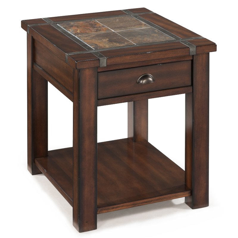 Slate And Cherry Brown End Table   Roanoke