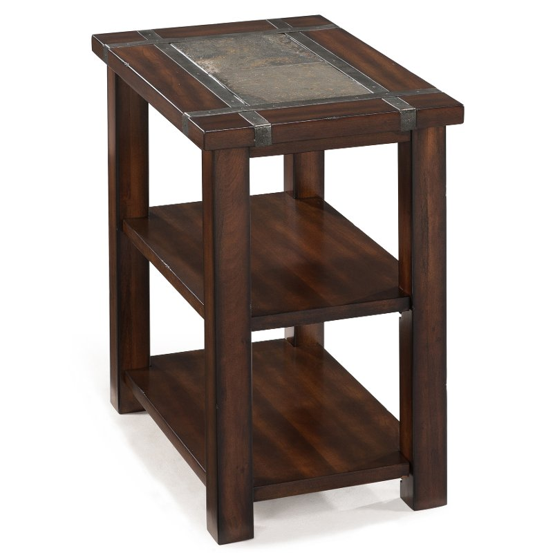 Genial Slate And Cherry Brown Small End Table   Roanoke