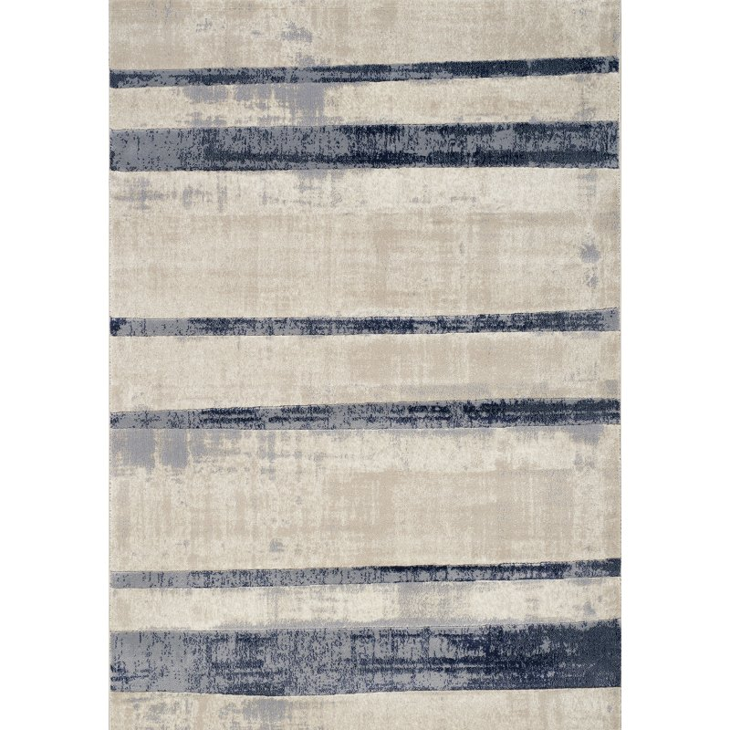 Beige And Blue Striped Area Rug