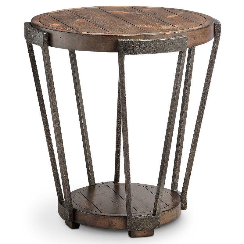 rustic round end table. Antique Rustic Brown Round End Table - Yukon