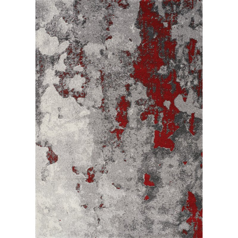 8 X 11 Large Gray And Red Distressed Area Rug Freemont