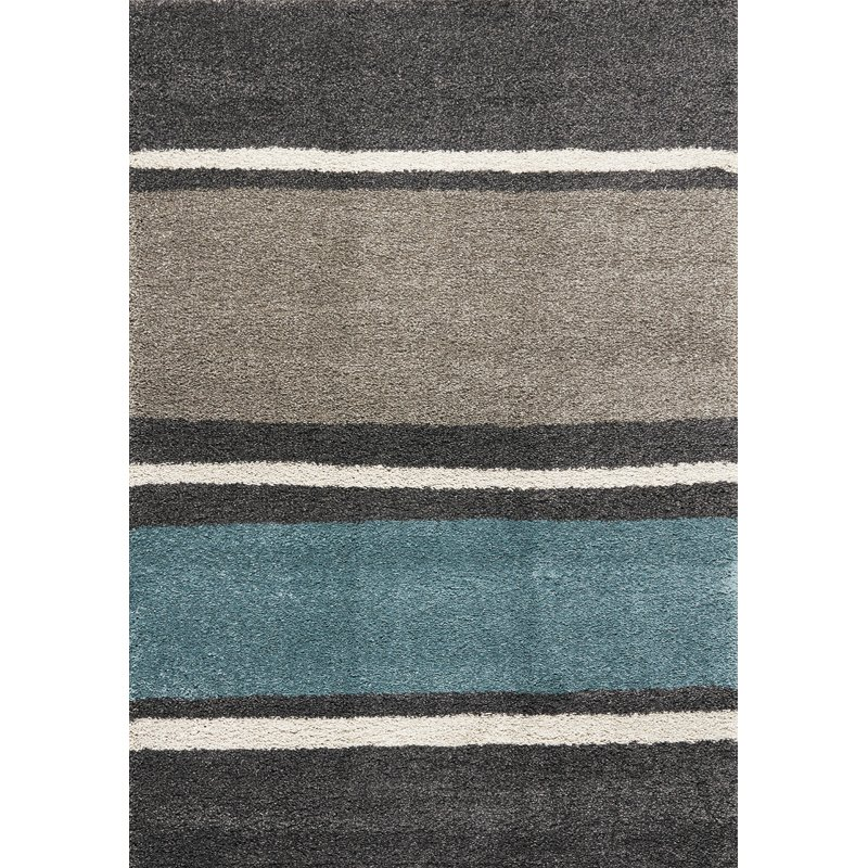 7 X 10 Large Striped Gray, Taupe And Teal Blue Rug