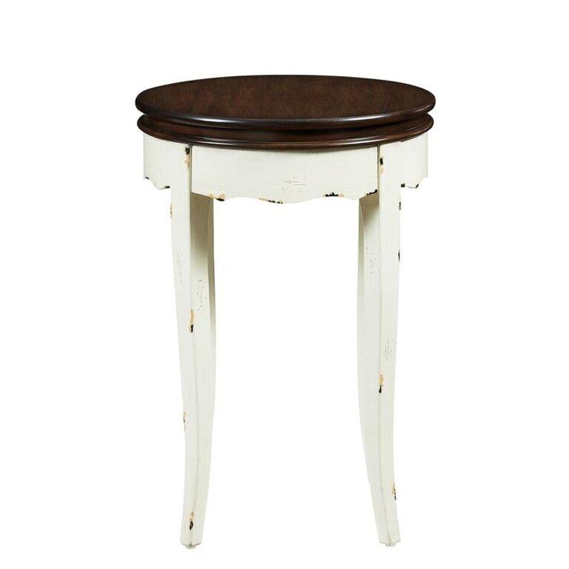 White Round End Table - Rachel