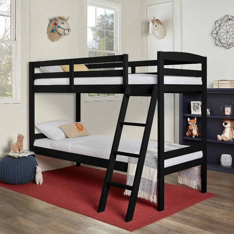 Black Twin Over Twin Bunk Bed Taylor Rc Willey Furniture Store