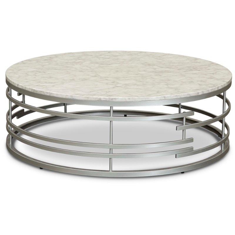 Round Marble And Silver Large Coffee Table Brica