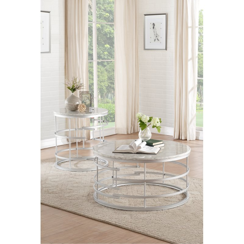 Round Marble And Silver Coffee Table   Brassica