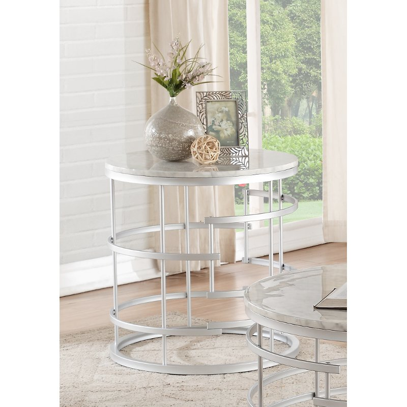 Round Marble And Silver End Table Brassica Rc Willey Furniture Store