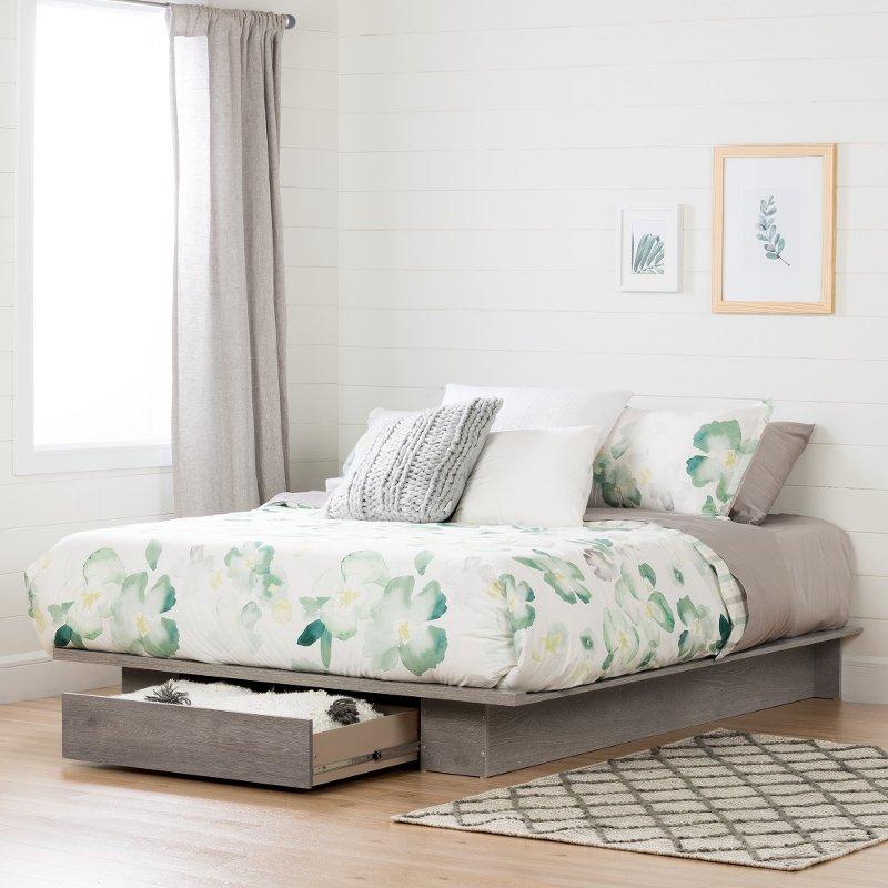 Modern Farmhouse Sand Oak Full Queen Platform Bed