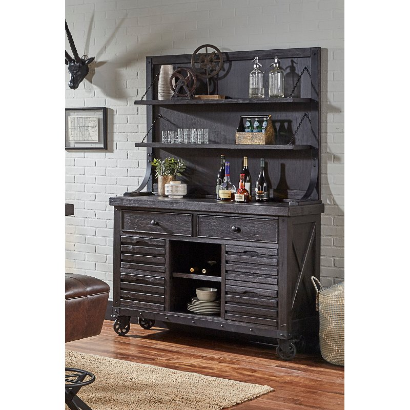 Dark Brown Dining Room Buffet And Hutch   Conversation
