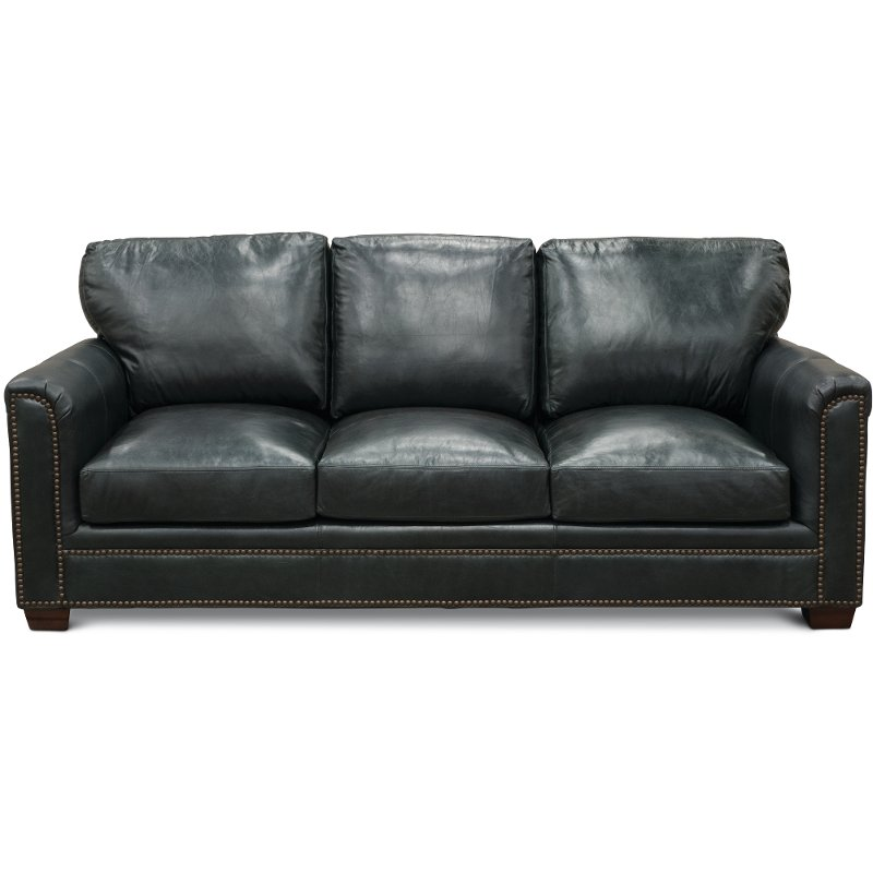 Classic Traditional Dark Blue Leather Sofa   Marine